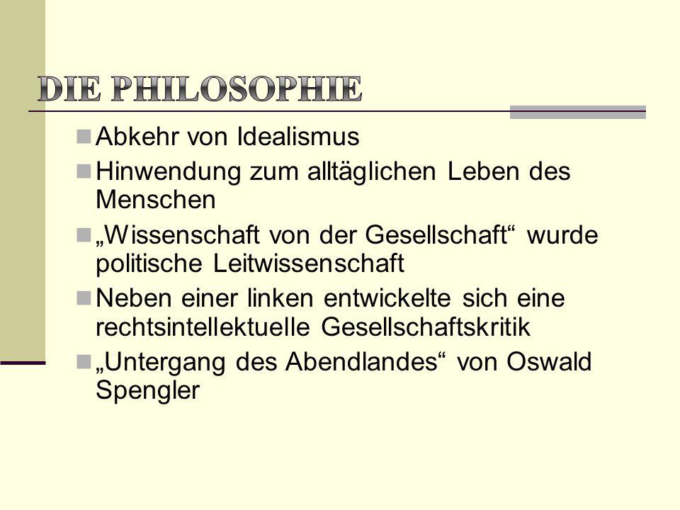 Die Philosophie Abkehr von Idealismus