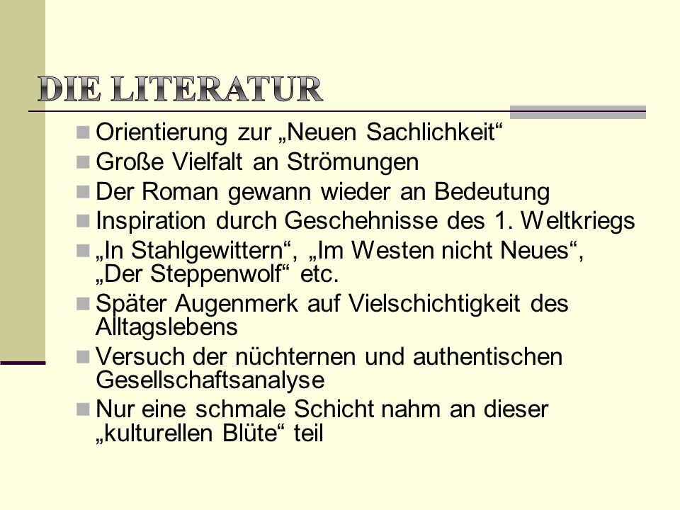 """Die Literatur Orientierung zur """"Neuen Sachlichkeit"""