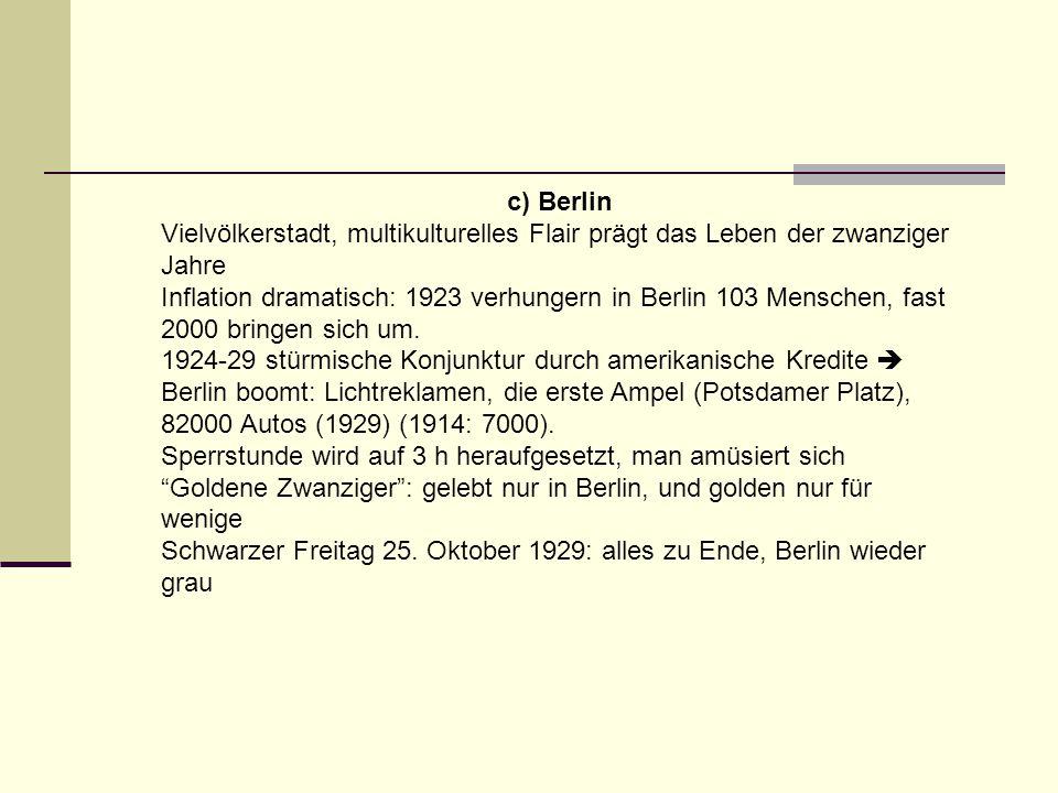 c) Berlin Vielvölkerstadt, multikulturelles Flair prägt das Leben der zwanziger Jahre.