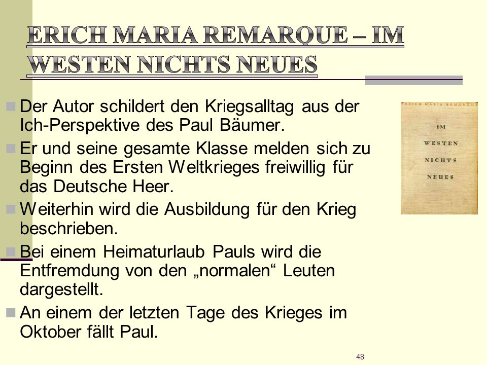 Erich Maria Remarque – Im Westen nichts Neues