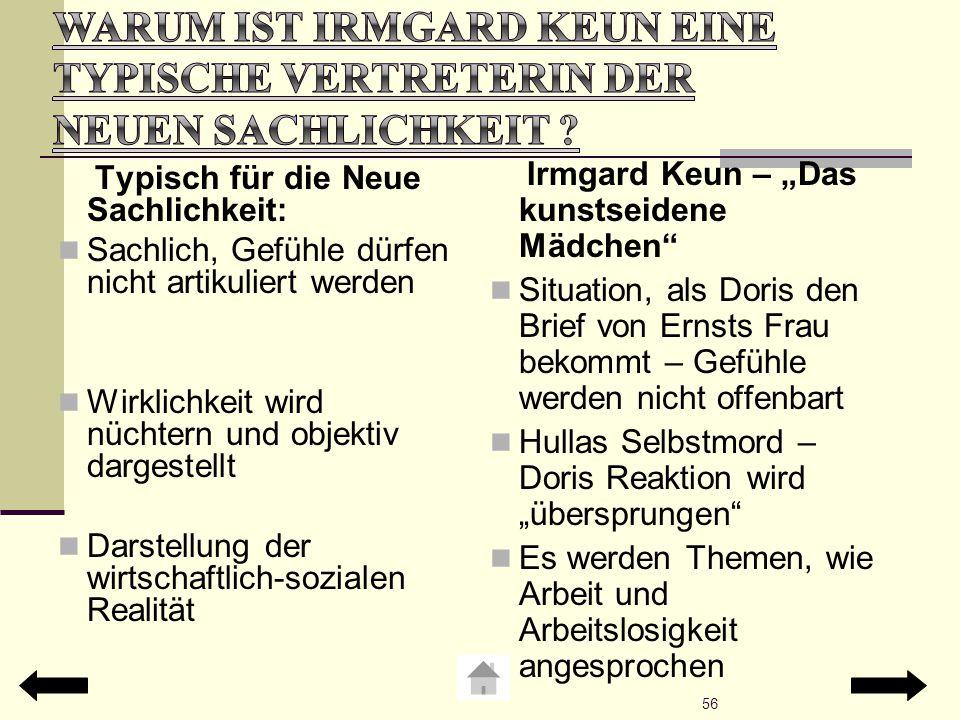 Warum ist Irmgard Keun eine typische Vertreterin der neuen Sachlichkeit