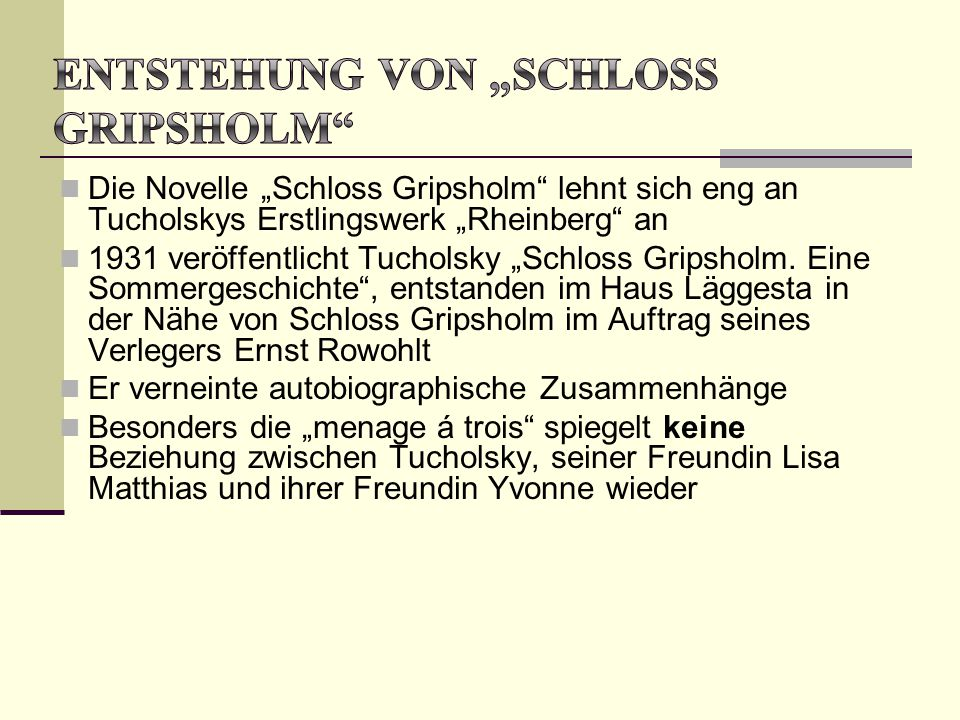 """Entstehung von """"Schloss Gripsholm"""