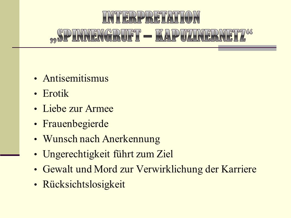 "Interpretation ""Spinnengruft – Kapuzinernetz"