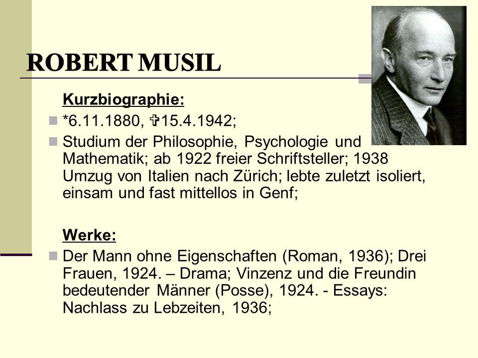 Robert Musil Kurzbiographie: *6.11.1880, 15.4.1942;