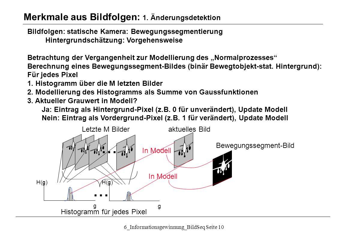Merkmale aus Bildfolgen: 1. Änderungsdetektion