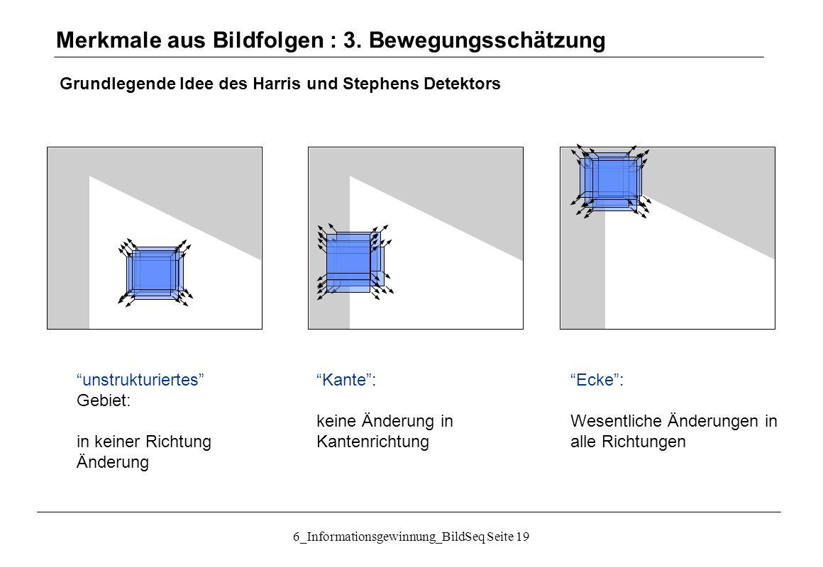 Merkmale aus Bildfolgen : 3. Bewegungsschätzung