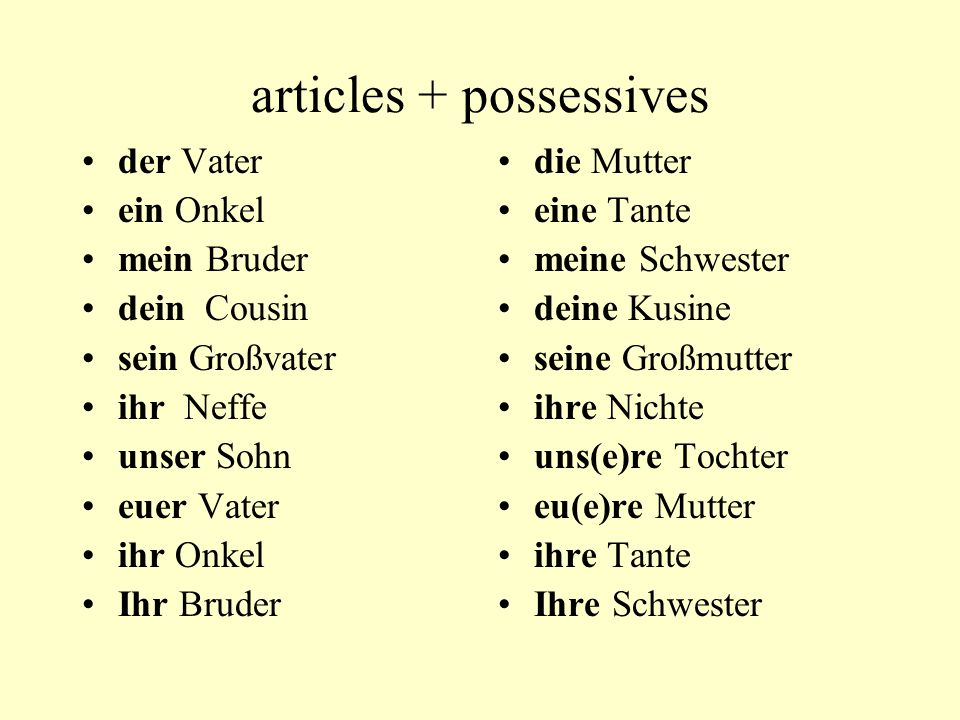 articles + possessives