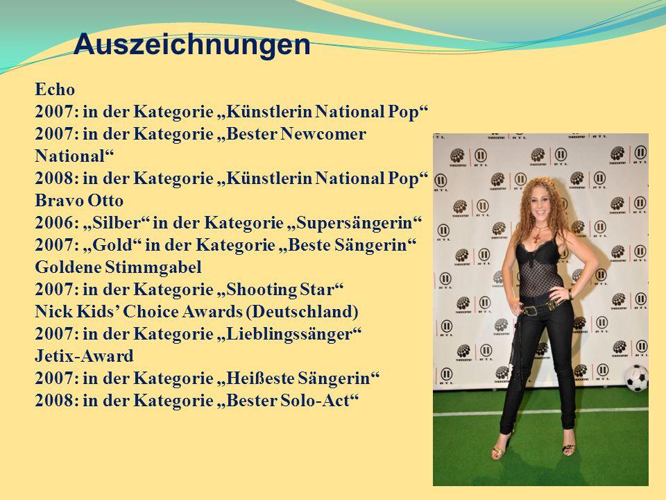 """Auszeichnungen Echo 2007: in der Kategorie """"Künstlerin National Pop"""