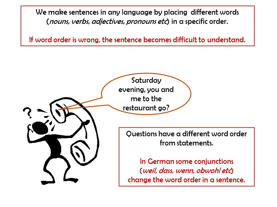 We make sentences in any language by placing different words