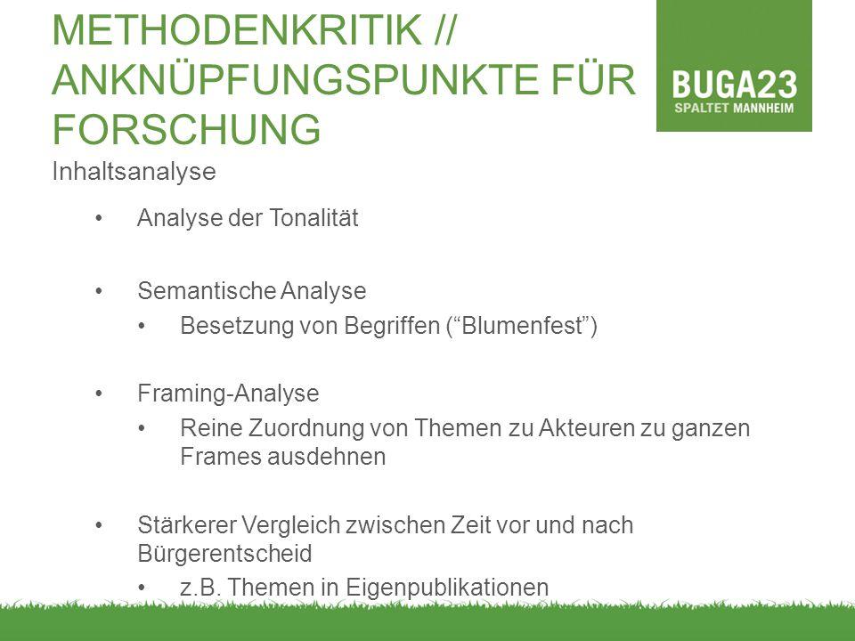 METHODENKRITIK // ANKNÜPFUNGSPUNKTE FÜR FORSCHUNG