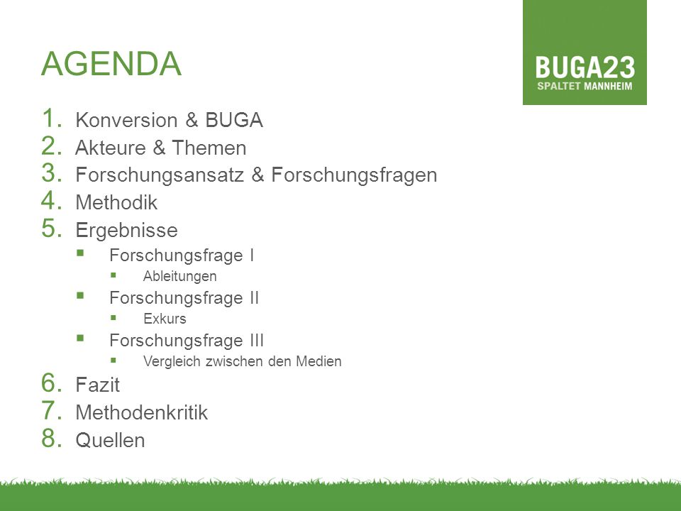 AGENDA Konversion & BUGA Akteure & Themen