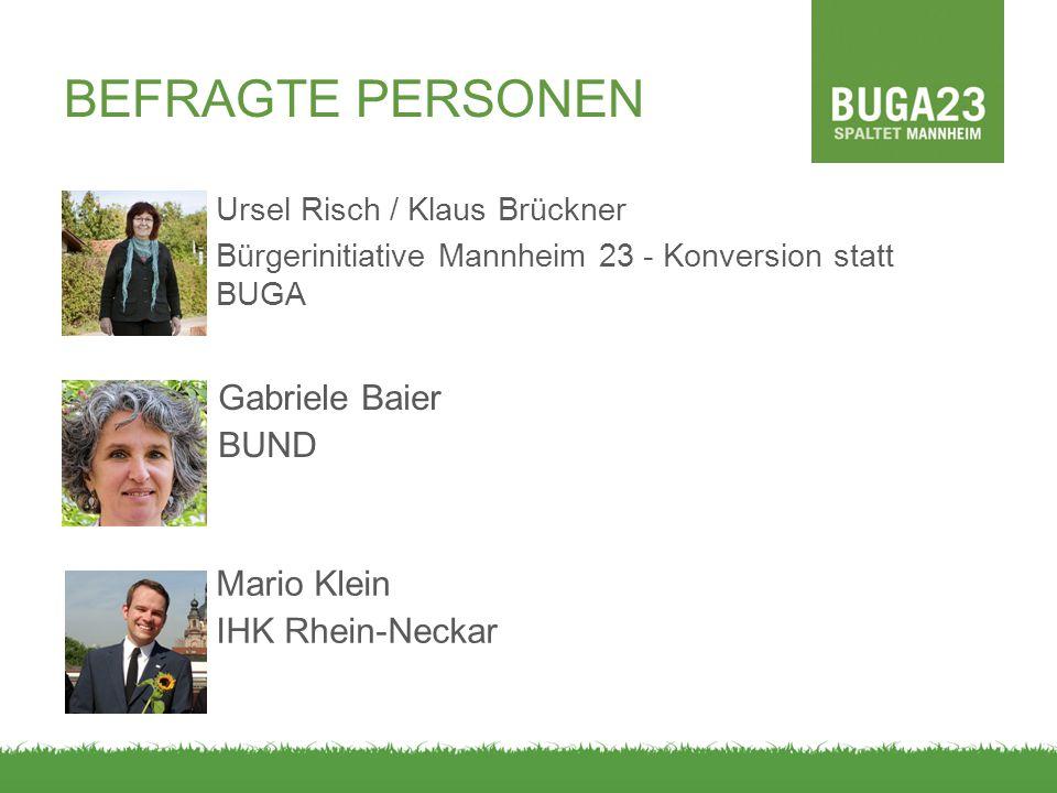 BEFRAGTE PERSONEN Gabriele Baier BUND Mario Klein IHK Rhein-Neckar
