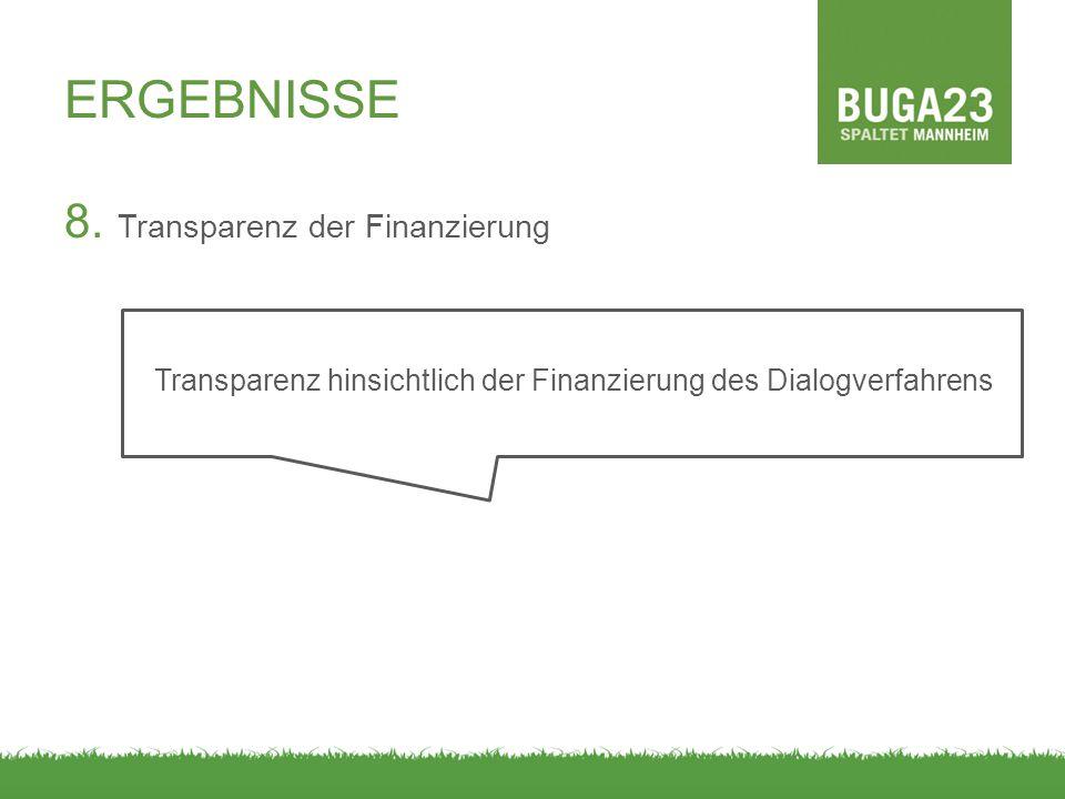 Transparenz hinsichtlich der Finanzierung des Dialogverfahrens