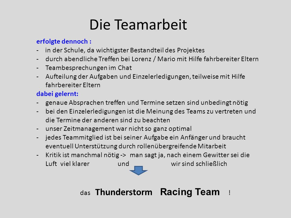 das Thunderstorm Racing Team !
