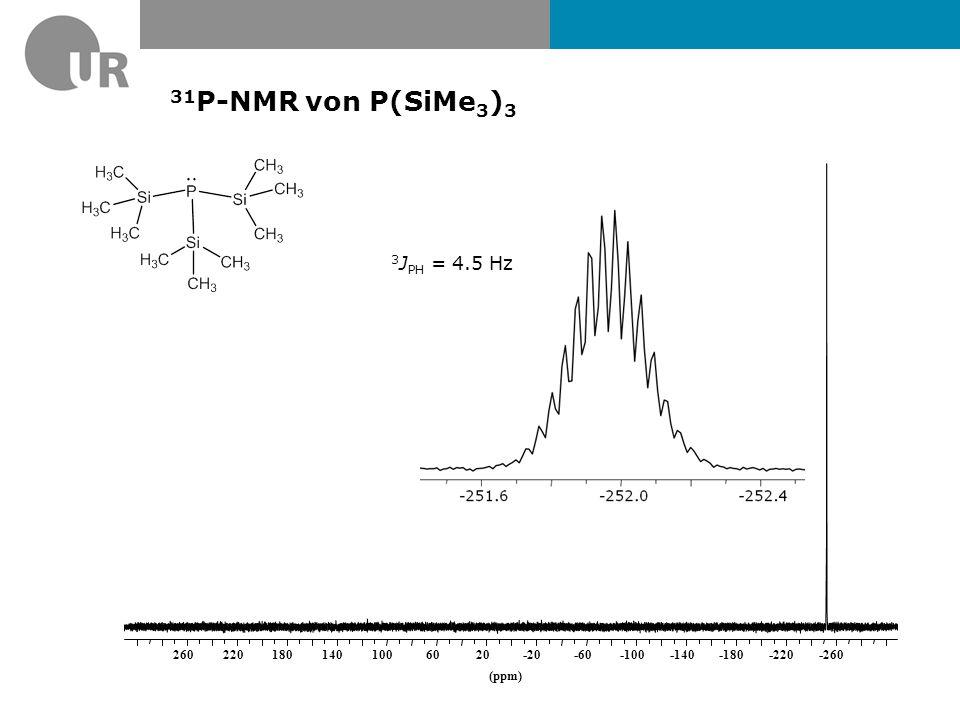 31P-NMR von P(SiMe3)3 3JPH = 4.5 Hz (ppm) -260 -220 -180 -140 -100 -60