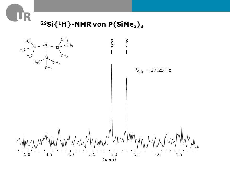 29Si{1H}-NMR von P(SiMe3)3 1JSiP = 27.25 Hz (ppm) 1.5 2.0 2.5 3.0 3.5