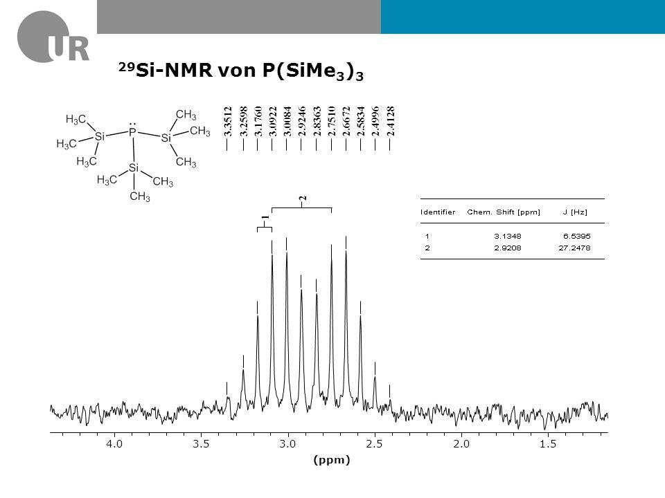29Si-NMR von P(SiMe3)3 3.3512. 3.2598. 3.1760. 3.0922. 3.0084. 2.9246. 2.8363. 2.7510. 2.6672.