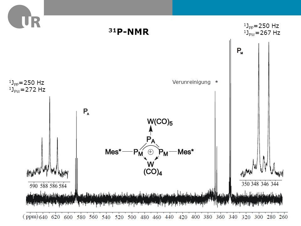 1JPP=250 Hz 1JPW=267 Hz 31P-NMR 1JPP=250 Hz 1JPW=272 Hz Verunreinigung