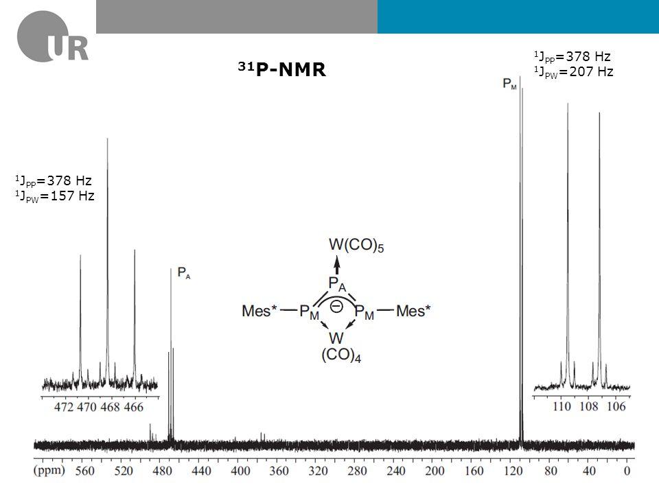 1JPP=378 Hz 1JPW=207 Hz 31P-NMR 1JPP=378 Hz 1JPW=157 Hz