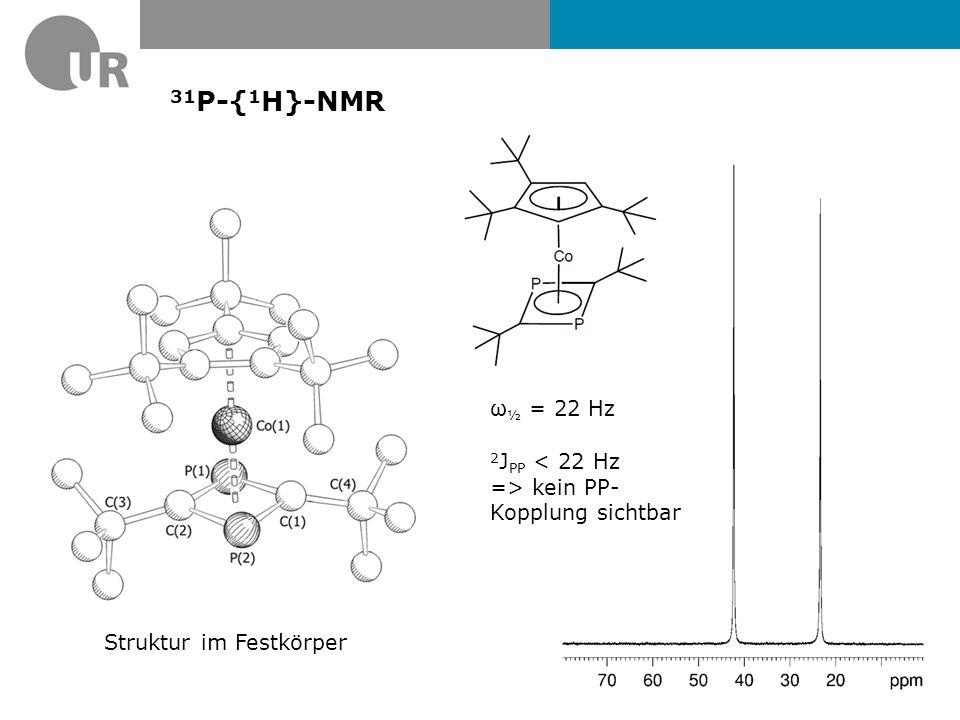 31P-{1H}-NMR ω½ = 22 Hz 2JPP < 22 Hz