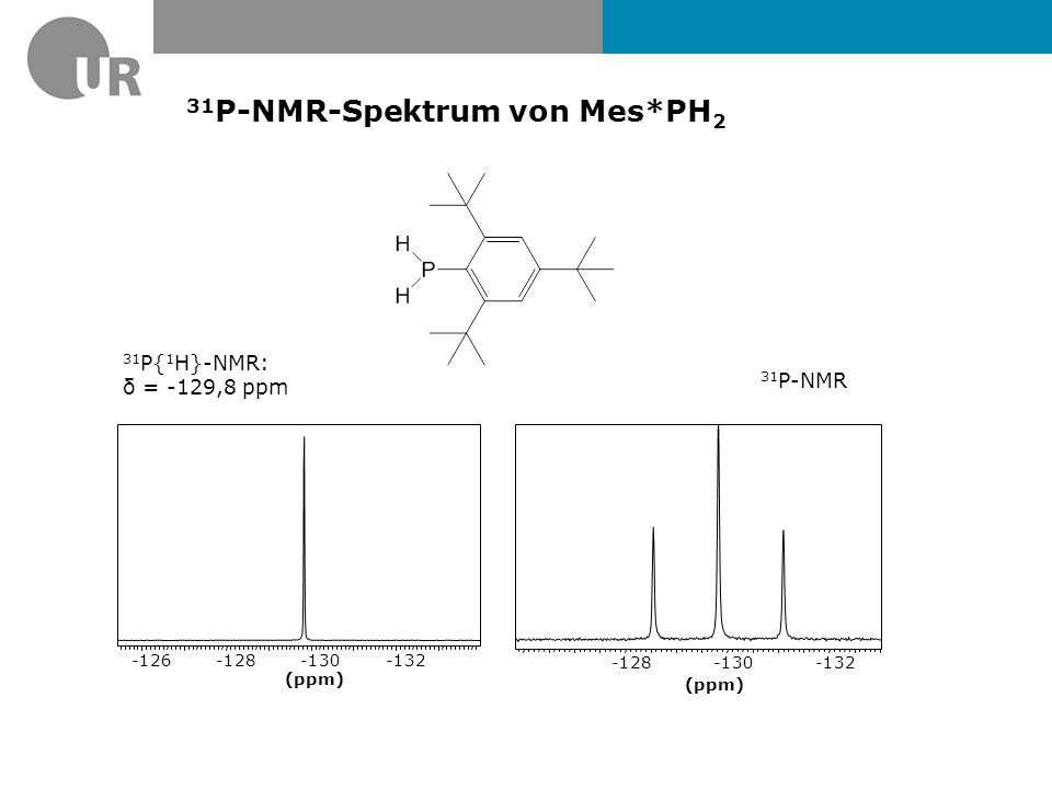 31P-NMR-Spektrum von Mes*PH2
