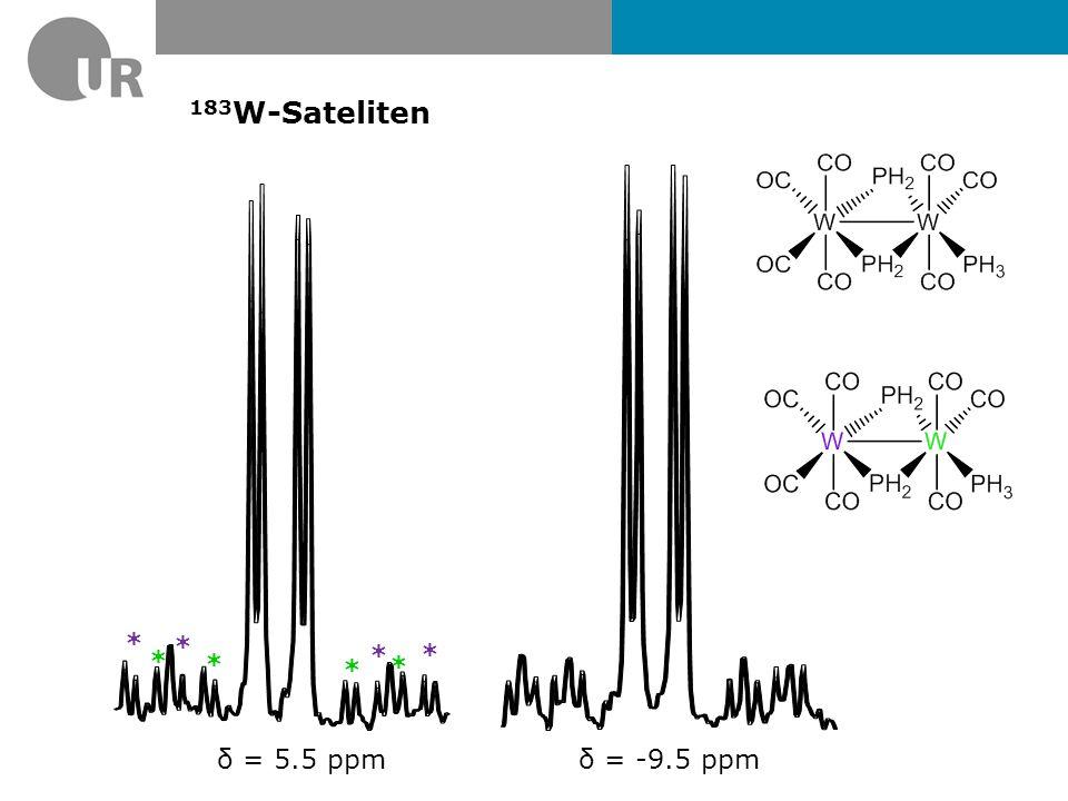 183W-Sateliten * δ = 5.5 ppm δ = -9.5 ppm