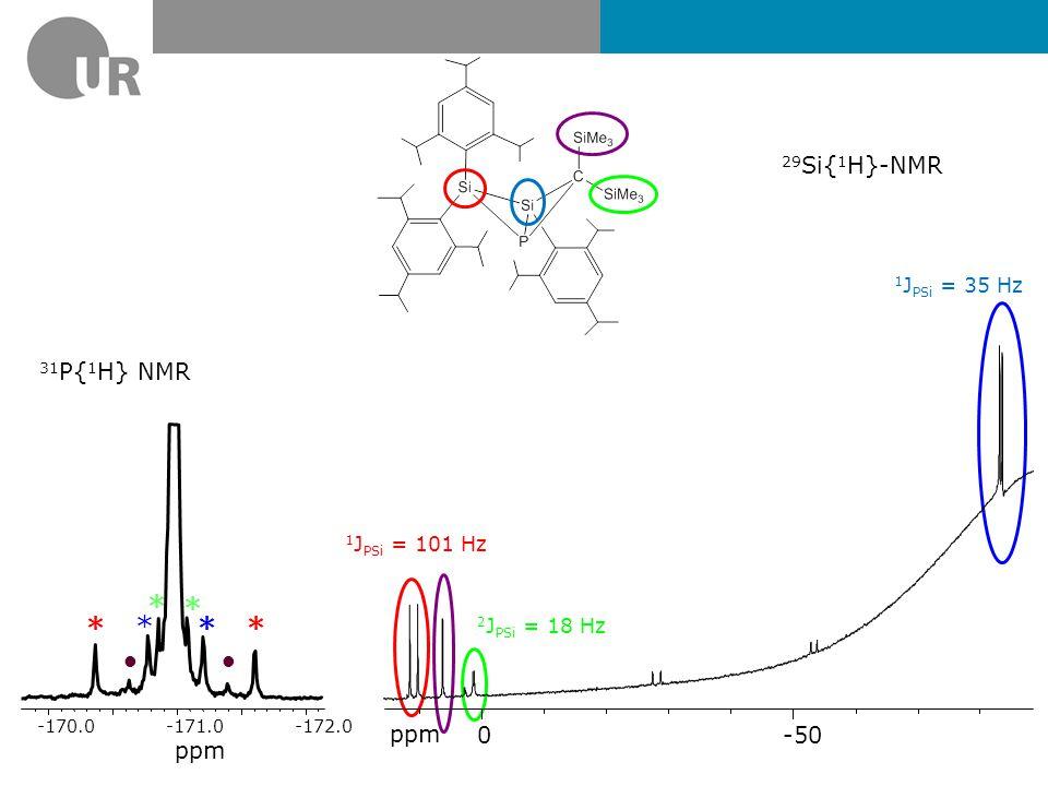 * • 29Si{1H}-NMR ppm -50 31P{1H} NMR ppm 1JPSi = 35 Hz 1JPSi = 101 Hz