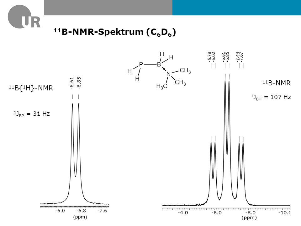 11B-NMR-Spektrum (C6D6) 11B-NMR 11B{1H}-NMR 1JBH = 107 Hz 1JBP = 31 Hz