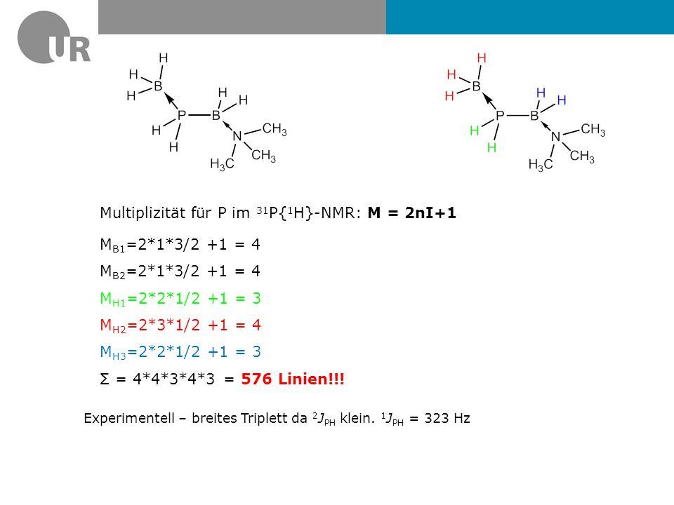 Multiplizität für P im 31P{1H}-NMR: M = 2nI+1