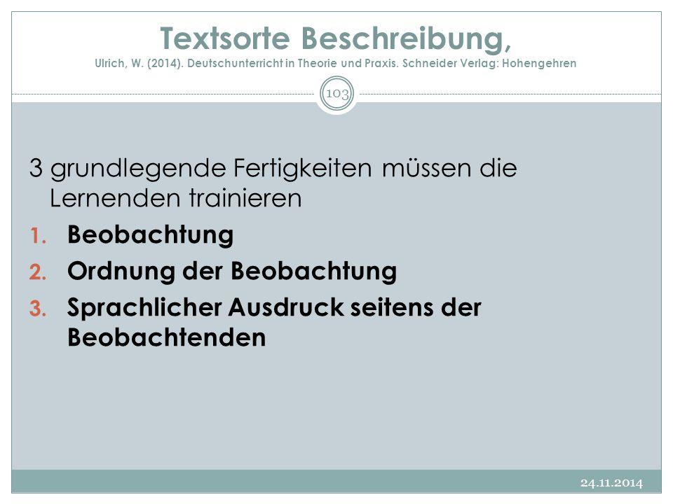 Textsorte Beschreibung, Ulrich, W. (2014)
