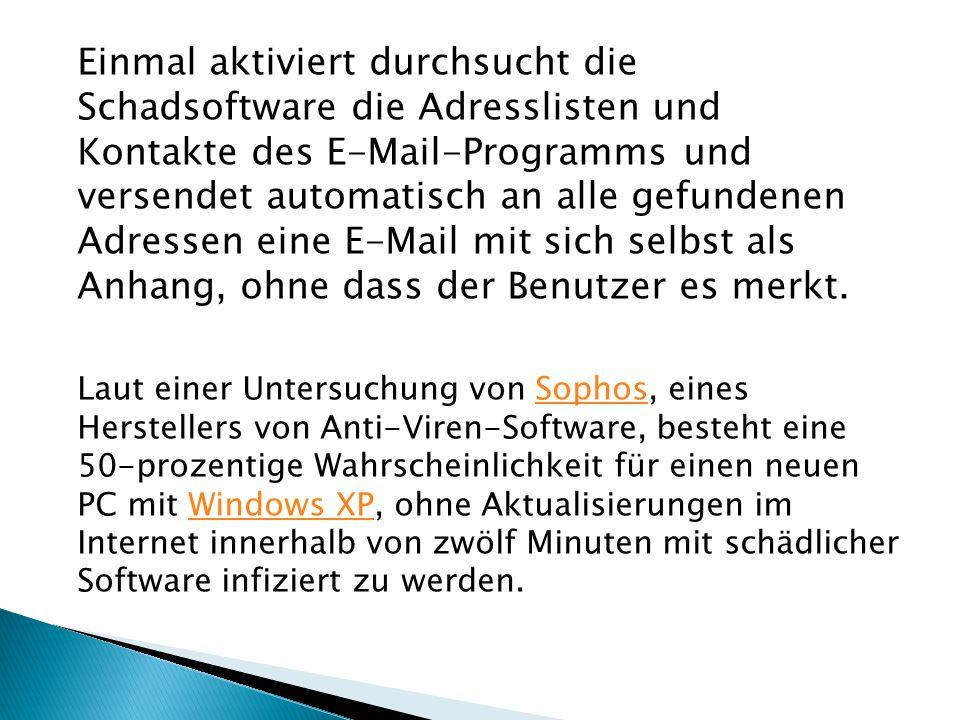 Einmal aktiviert durchsucht die Schadsoftware die Adresslisten und Kontakte des E-Mail-Programms und versendet automatisch an alle gefundenen Adressen eine E-Mail mit sich selbst als Anhang, ohne dass der Benutzer es merkt.