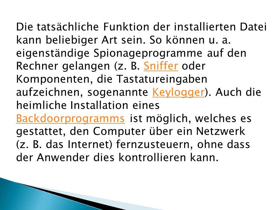 Die tatsächliche Funktion der installierten Datei kann beliebiger Art sein.