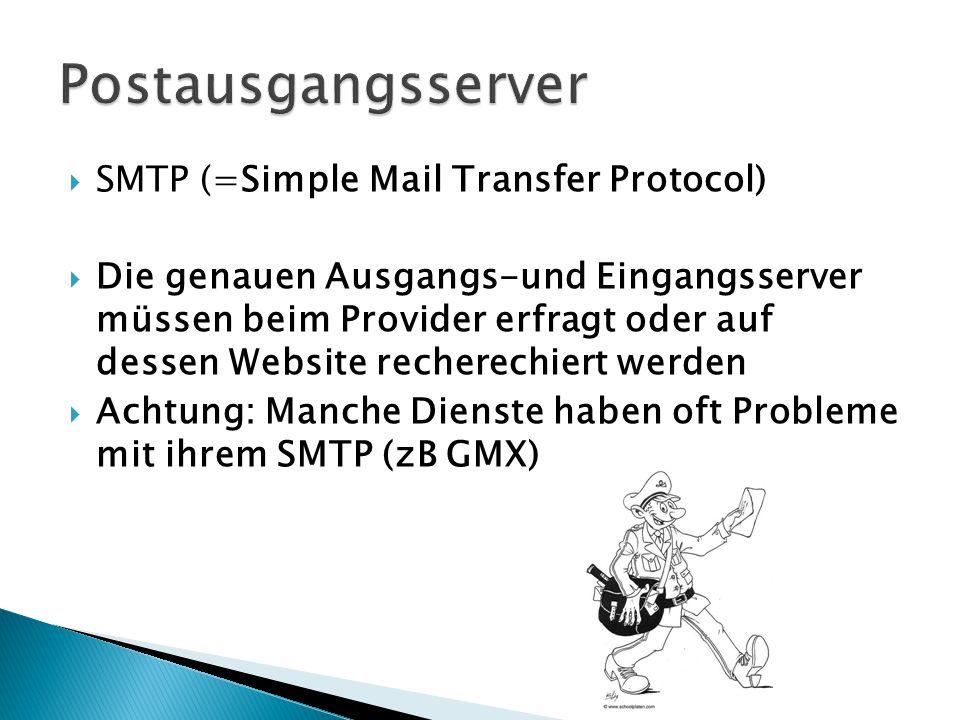 Postausgangsserver SMTP (=Simple Mail Transfer Protocol)