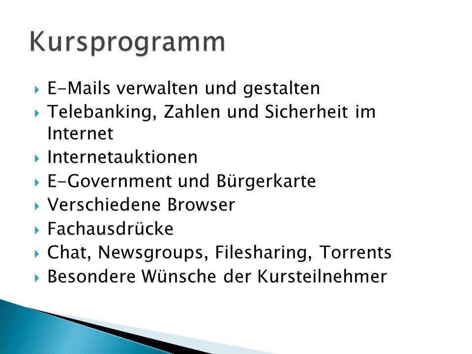 Kursprogramm E-Mails verwalten und gestalten