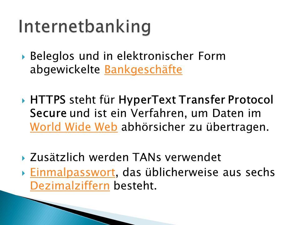 Internetbanking Beleglos und in elektronischer Form abgewickelte Bankgeschäfte.