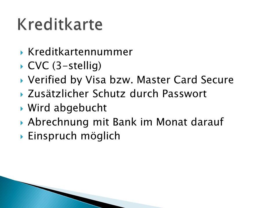 Kreditkarte Kreditkartennummer CVC (3-stellig)