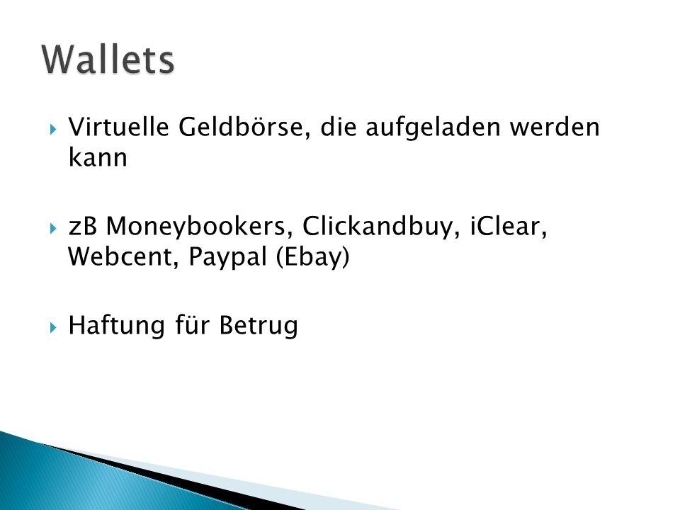Wallets Virtuelle Geldbörse, die aufgeladen werden kann