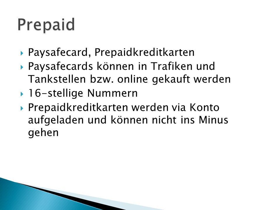 Prepaid Paysafecard, Prepaidkreditkarten