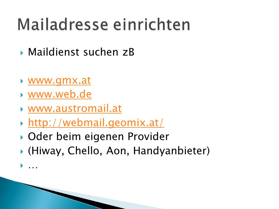 Mailadresse einrichten