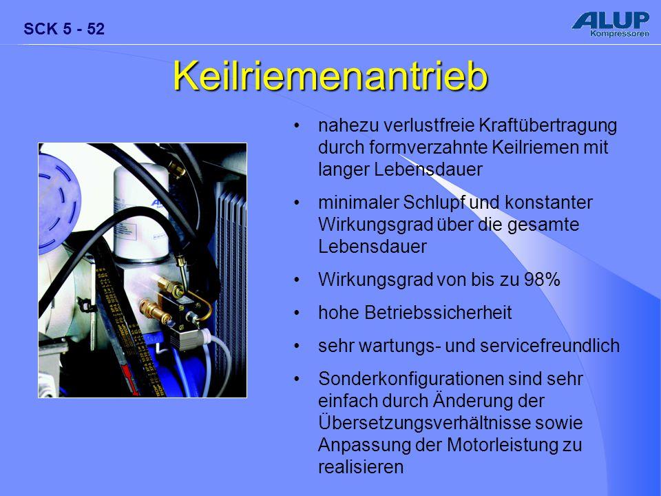 Keilriemenantrieb nahezu verlustfreie Kraftübertragung durch formverzahnte Keilriemen mit langer Lebensdauer.