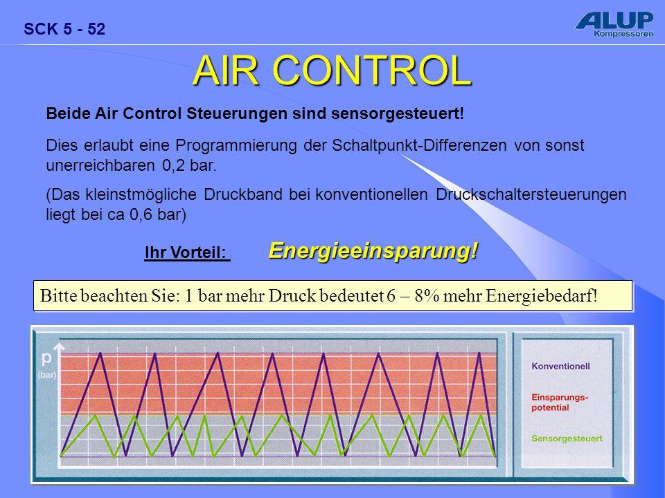 AIR CONTROL Beide Air Control Steuerungen sind sensorgesteuert! Dies erlaubt eine Programmierung der Schaltpunkt-Differenzen von sonst.