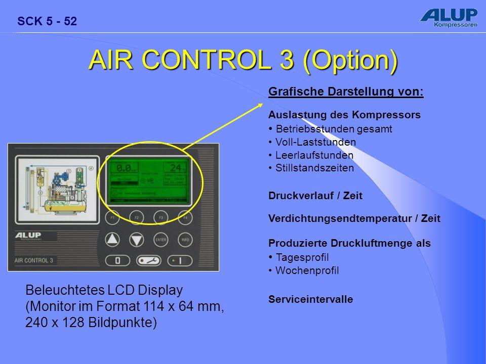 AIR CONTROL 3 (Option) Grafische Darstellung von: Auslastung des Kompressors. Betriebsstunden gesamt.