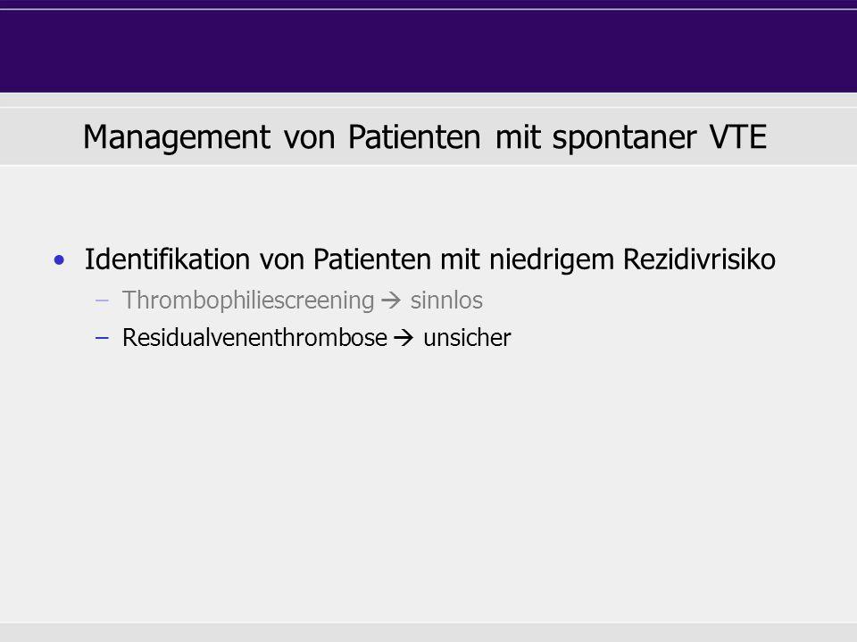 Management von Patienten mit spontaner VTE