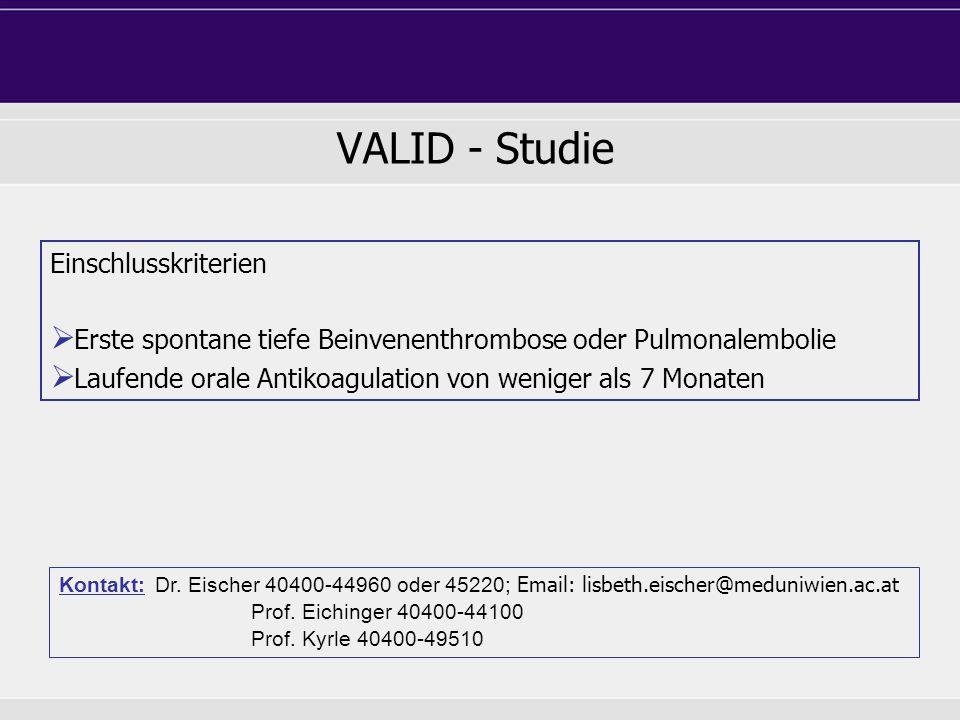 VALID - Studie Einschlusskriterien