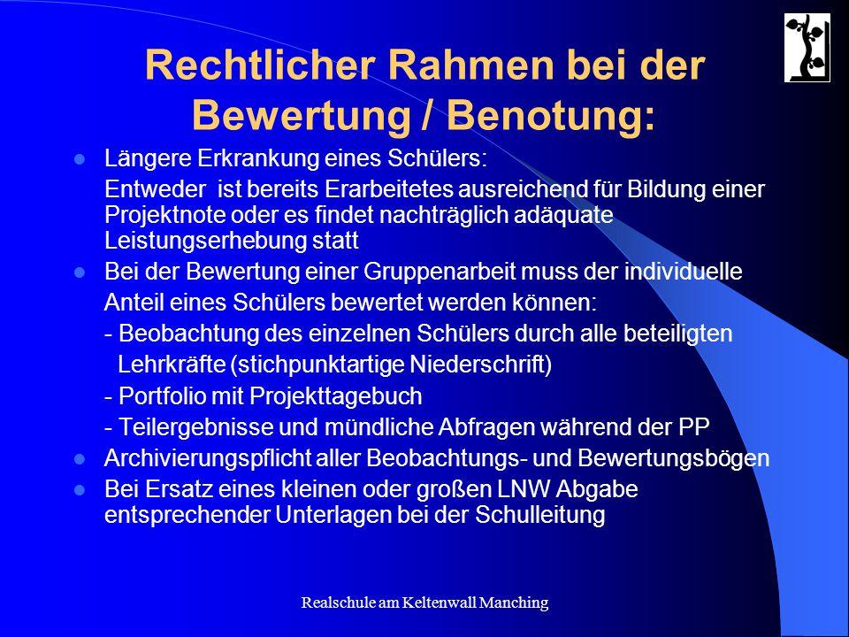 Rechtlicher Rahmen bei der Bewertung / Benotung: