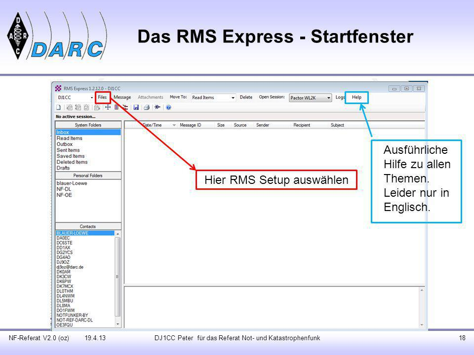 Das RMS Express - Startfenster