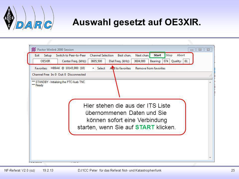 Auswahl gesetzt auf OE3XIR.