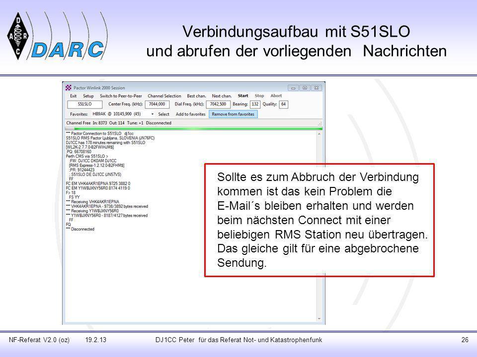 Verbindungsaufbau mit S51SLO und abrufen der vorliegenden Nachrichten