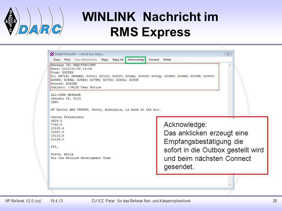 WINLINK Nachricht im RMS Express