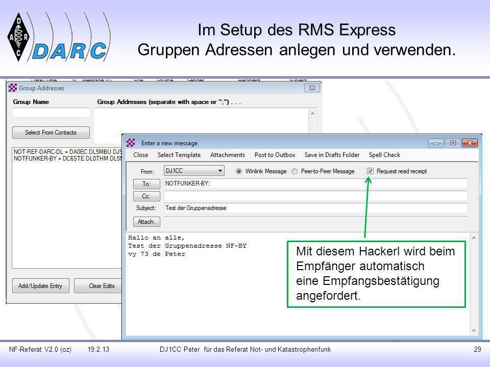 Im Setup des RMS Express Gruppen Adressen anlegen und verwenden.